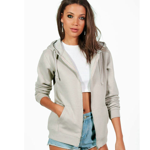 Ladies Original Maya Zipper Hoodie by Boohoo Light Grey