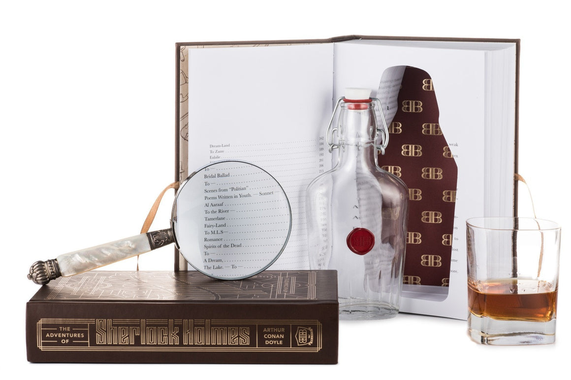Adventures of Sherlock Holmes Booze Book - with magnifying glass