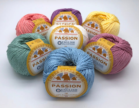 100% Supima DK Cotton Passion Pastel pack of seven balls