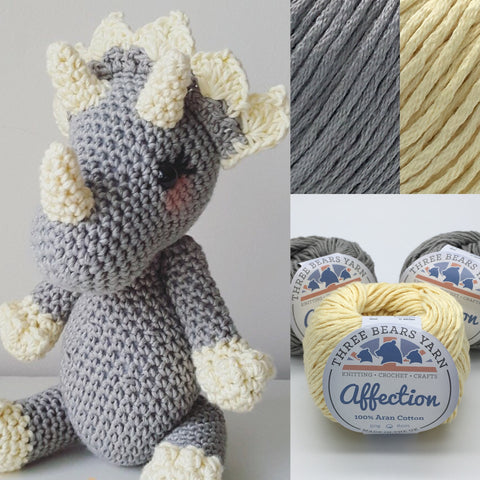 Small Triceratops Crochet Pattern & Yarn Pack