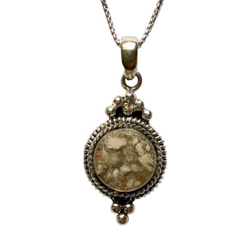 P002 Antiqued Sterling Silver Drop Pendant