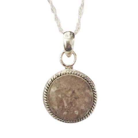 P025 Antiqued Round Cremation Pendant