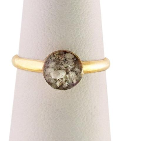 R004  14K Gold Ring, Round Setting, 2 mm Band
