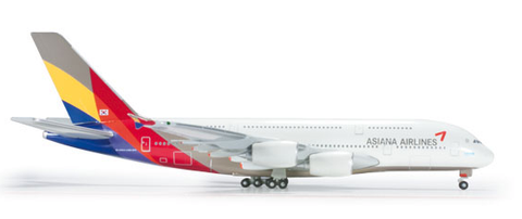 1/500 Herpa Asiana Airlines Airbus A380-800 Diecast Model - RW Hobbies