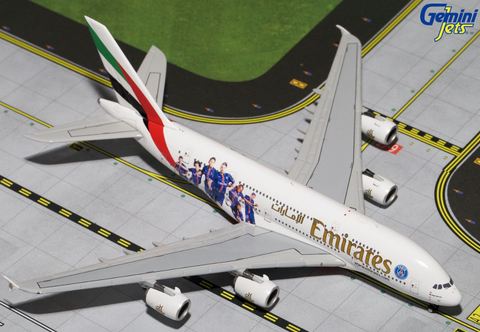 "1/400 GeminiJets Emirates Airline ""PSG France"" Airbus A380-800 Diecast Model - RW Hobbies"