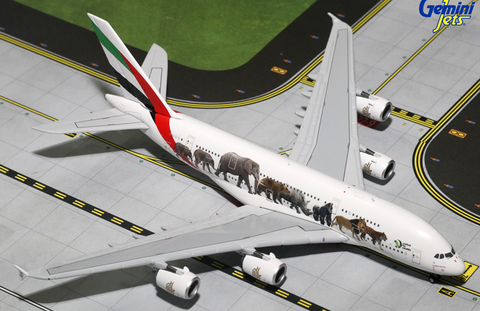 "1/400 Gemini Jets Emirates Airline ""Wildlife #5"" Airbus A380-800 Diecast Model Airplanes - RW Hobbies"