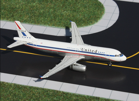 "1/400 GeminiJets United Airlines ""Stars and Bars Retro"" Airbus A320-200 Diecast Model - RW Hobbies"
