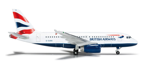1/500 Herpa British Airways Airbus A319 Diecast Model - RW Hobbies