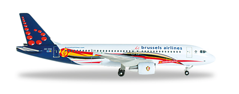"1/500 Herpa Brussels Airlines ""Red Devils"" Airbus A320-200 Diecast Model - RW Hobbies"