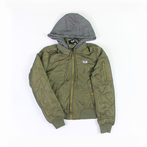 Bomber Hoodie in Olive