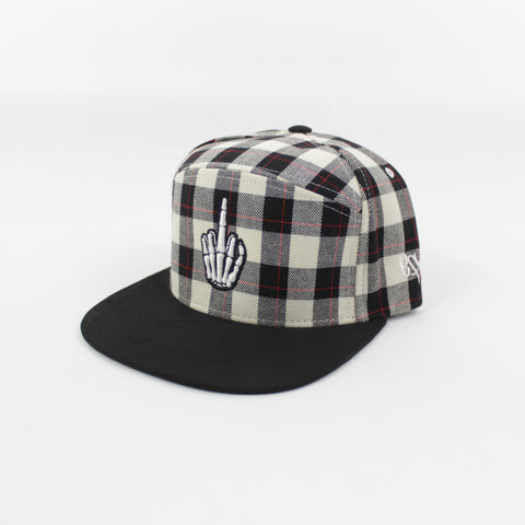 Flannel Hand Logo Snapback in White/Black