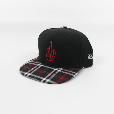 Flannel Hand Logo Snapback in Red/Black