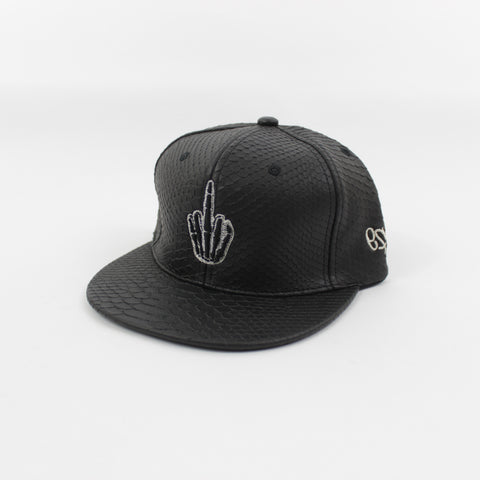 Hand Logo Croc Leather Snapback in Black