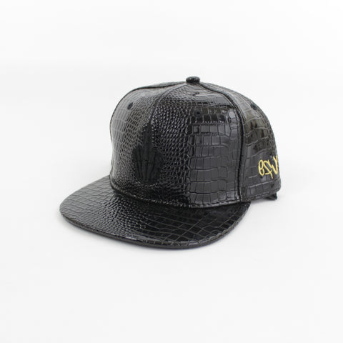 Leather Hand Logo Snapback in Black