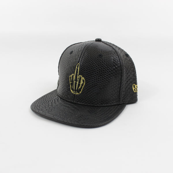 Hand Logo Croc Leather Snapback in Black/Gold
