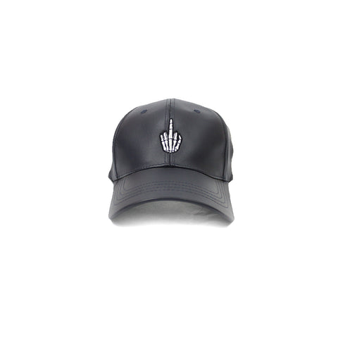Black Leather Efue Sports Hat