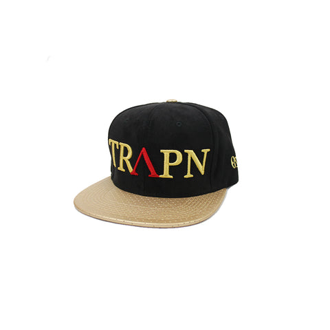 TRAPN Black& Gold Leather Snap Back
