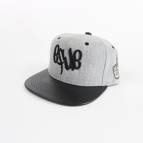 Logo Snapback in Gray/Leather