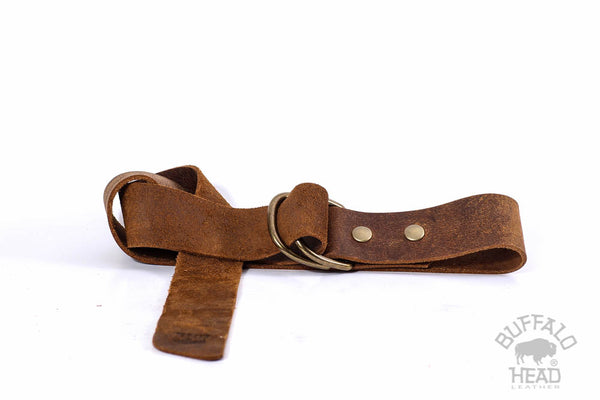 "Genuine Buffalo Leather Distressed Brown with D-Ring Buckle Hand Made 1 1/2"" Wide"