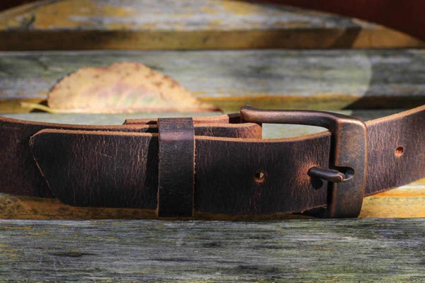 "Full Grain Genuine Buffalo Distressed Brown w/ Copper Buckle 1 1/2"" wide Unisex Free Shipping"