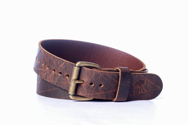 Full Grain Buffalo Distressed Geometric Pattern 1 1/2 Wide Casual Belt Made in USA Free Shipping