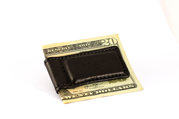 OUT OF STOCK - Magnetic Money Clip - English Bridle Leather - Black - Hand Made