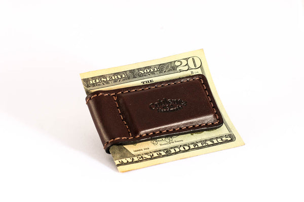 Magnetic Money Clip - English Bridle Leather - Dark Brown - Hand Made