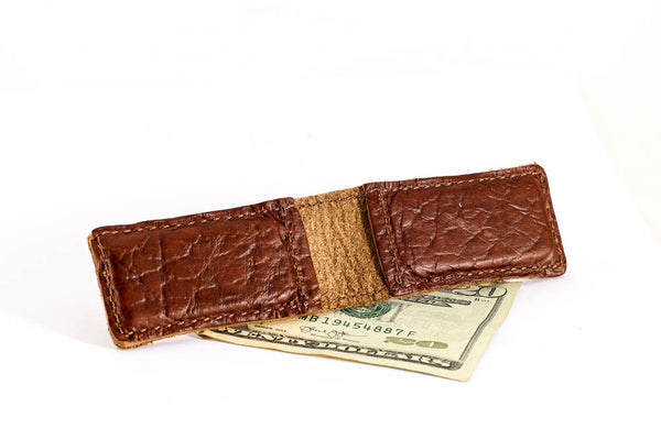 Magnetic Bison Leather Money Clip - Hand Made