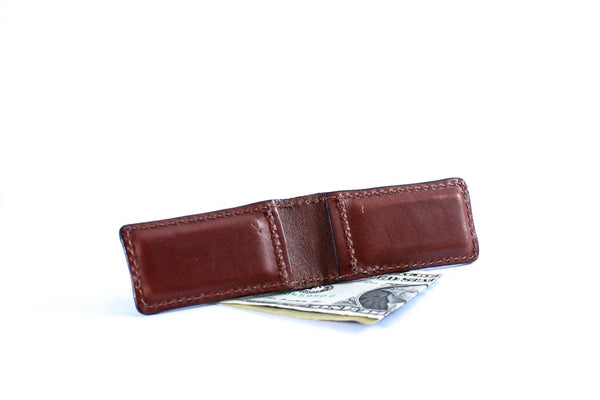 Magnetic Money Clip - English Bridle Leather - Medium Brown - Hand Made