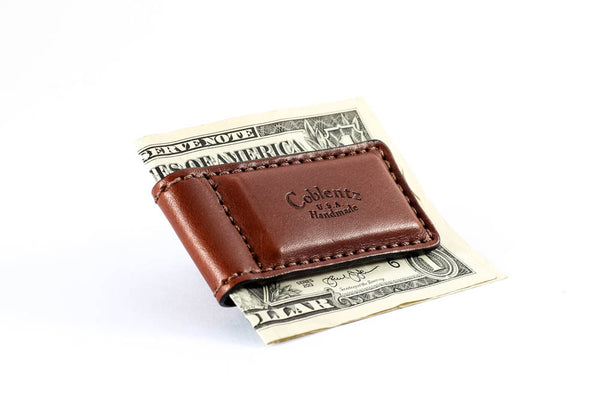 Temporarily Out Of Stock - Magnetic Money Clip - English Bridle Leather - Medium Brown - Hand Made