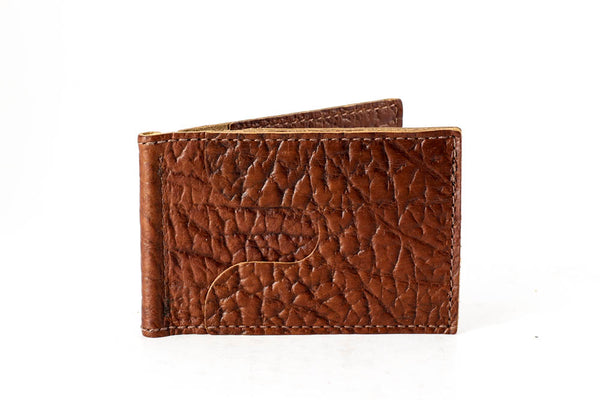 0d9ae53831c4 Buffalo Head Leather. American Bison Comfort Slim Mini Wallet - Rich Brown  - Hand Made