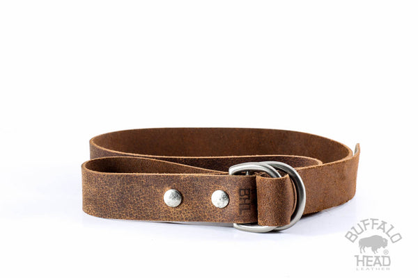 "Genuine Buffalo Leather Distressed Brown with D-Ring Buckle Hand Made 1 1/4"" Wide Free Shipping"