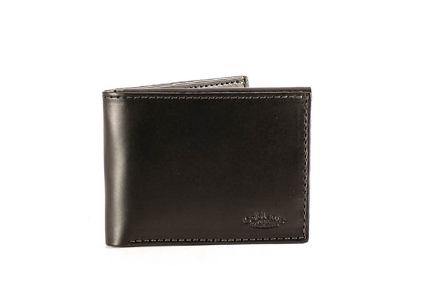 Deluxe Men's Bifold Wallet Classic Black English Bridle Leather Hand Made