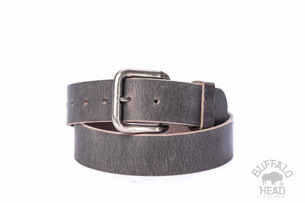 "Full Grain Buffalo Distressed Gray size 28 - 1 1/2"" Wide"
