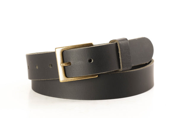 "Full Grain Genuine Buffalo 1 1/4"" Deep Matte Black - Hand Made"