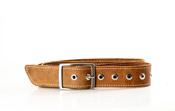 Genuine Top Grain Stitched Buffalo Belt with Nickel Eyelets and Brushed Nickel Buckle Free Shipping