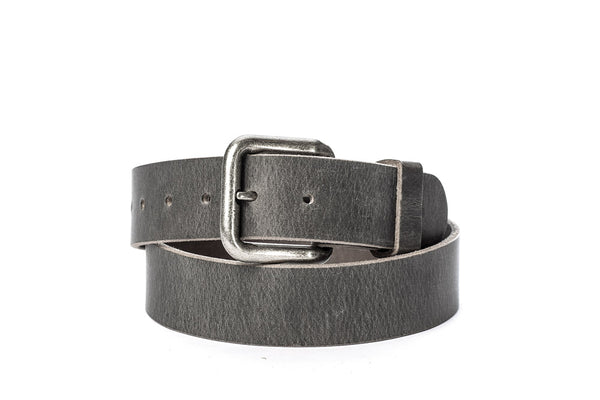 "Full Grain Genuine Buffalo Distressed Gray Handcrafted In USA 1 1/2"" wide w/Antique Silver Buckle Free Shipping"