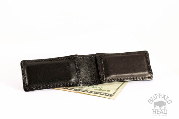 Magnetic Money Clip - English Bridle Leather - Black - Hand Made