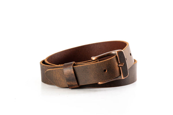 "Full Grain Genuine Buffalo Distressed Brown w/ Copper Buckle 1 1/4"" wide Unisex"