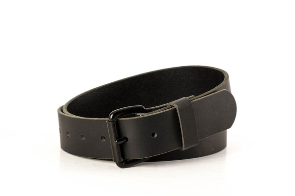 "Full Grain Genuine Water Buffalo Black with Black Roller Buckle 1 1/2"" Wide"