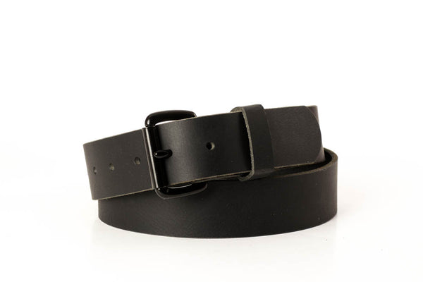 "Full Grain Water Buffalo Black with Black Roller Buckle 1 1/2"" Wide"