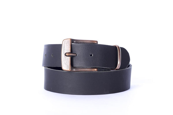 "Full Grain Buffalo 1 1/2"" casual wide leather belt coal black with copper buckle Free Shipping"