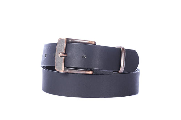 "Full Grain Buffalo 1 1/4"" wide casual leather belt coal black with copper buckle Free Shipping"