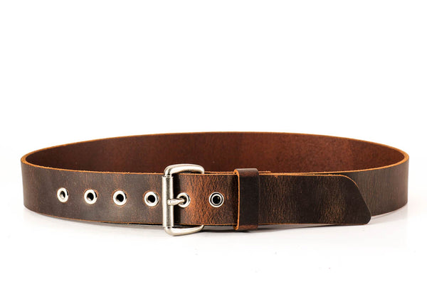 "Full Grain Genuine Buffalo Belt Distressed Leather 1 1/2"" wide Nickel Roller Buckle and Eyelets Hand Made"