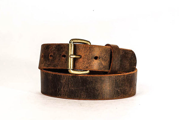 "Hand Made USA BROWN with Black Edges 1/"" Dress LEATHER BELT 44 46"