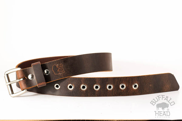 "Full Grain Buffalo Belt Distressed Leather 1 1/2"" wide Nickel Roller Buckle and Eyelets"