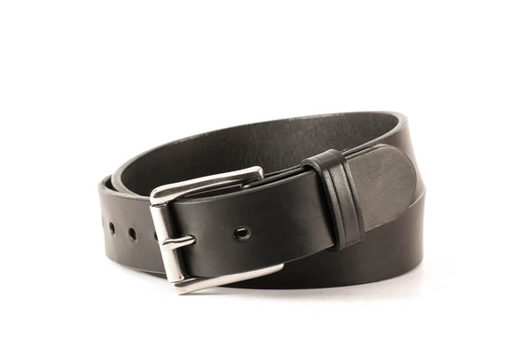 "English Bridle Leather Thick 12-13oz. Heavy Duty Work/Dress/Carry Belt 1 1/2 "" Wide, Black, Stainless Steel Roller Buckle Free Shipping"