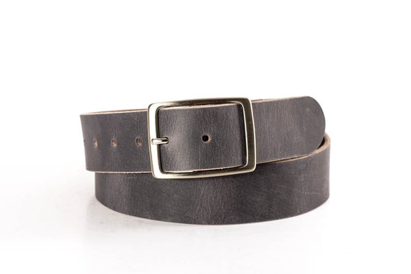 "Full Grain Genuine Buffalo 1 1/2"" Vintage Gray Unisex Casual Belt Made in USA"
