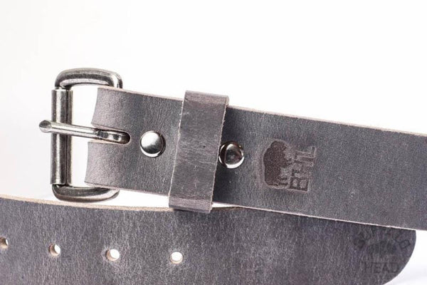 "Full Grain Buffalo Distressed Gray Handcrafted In USA 1 1/2"" wide w/Antique Nickel roller Buckle Free Shipping"
