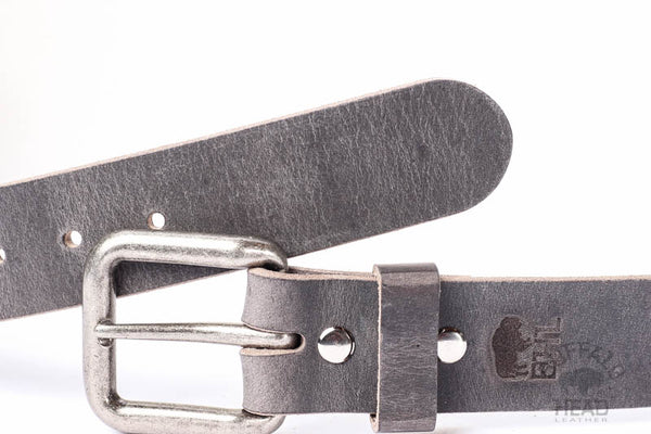 "Full Grain Buffalo Distressed Gray Handcrafted In USA 1 1/2"" wide w/Antique Silver Buckle Free Shipping"